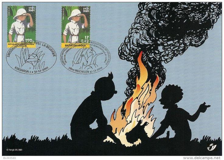 Timbres / tintin - Carte souvenir -Belgique Congo Kinshasa - Delcampe.fr