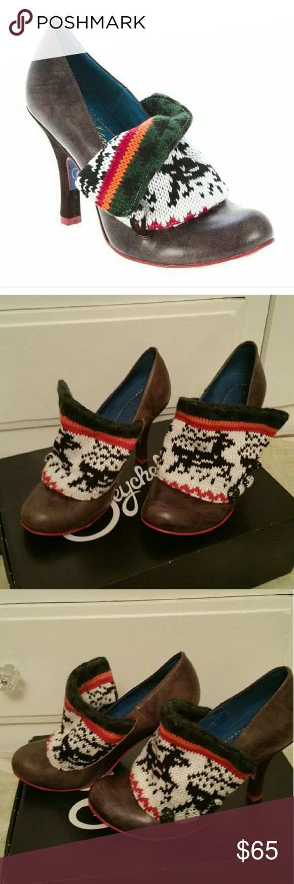 Irregular Choice flick flack sweater shoe Really hard to find IC flick flack in a fair isle sweater style. This brand is sold at high end shoe stores and sometimes at anthropologie. Size EU 38 about a size 7,7 1/2 in womens. Worn maybe twice in their lifetime almost brand new. It took forever to find these but I just never wear them now and I'm cleaning out the closet. Open to all offers and trades. irregular choice Shoes