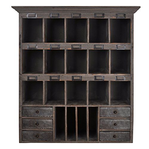 Distressed Wood Cabinet with Cubbies & Drawers (Shabby Gray) Home Office Collection
