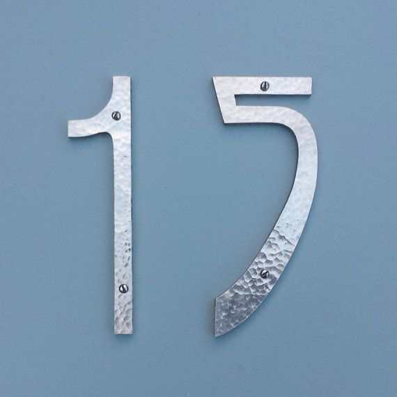 """Pewter Art Nouveau metal house numbers  2 x 6"""" high in polished or hammered finish e by DavidMeddingsDeSign"""