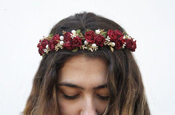 Burgundy Red Rose and Pearl Flower Crown Prom by BloomDesignStudio