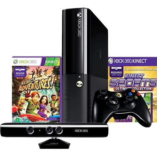 (Submarino) Console Xbox 360 4GB + Sensor Kinect + Controle sem Fio + 2 Jogos - de R$ 1772.84 por R$ 1299.99 (27% de desconto)