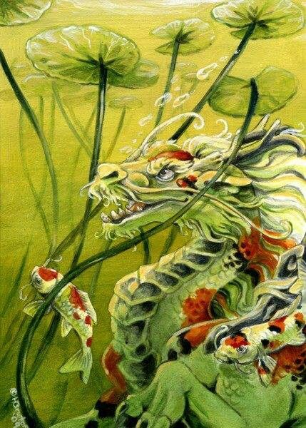 Lilly pads in Koi & Dragon Artwork