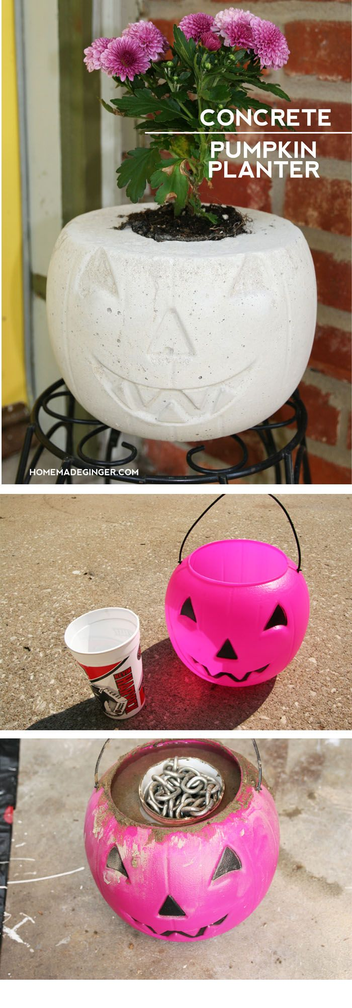 Make a concrete planter out of an old plastic jack o'lantern. The cutest way to display some mums for the front porch!