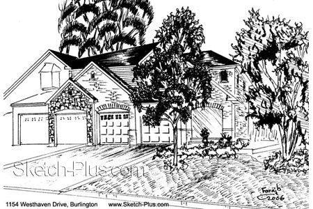House Sketch of 1154 Westhaven Drive, Burlington