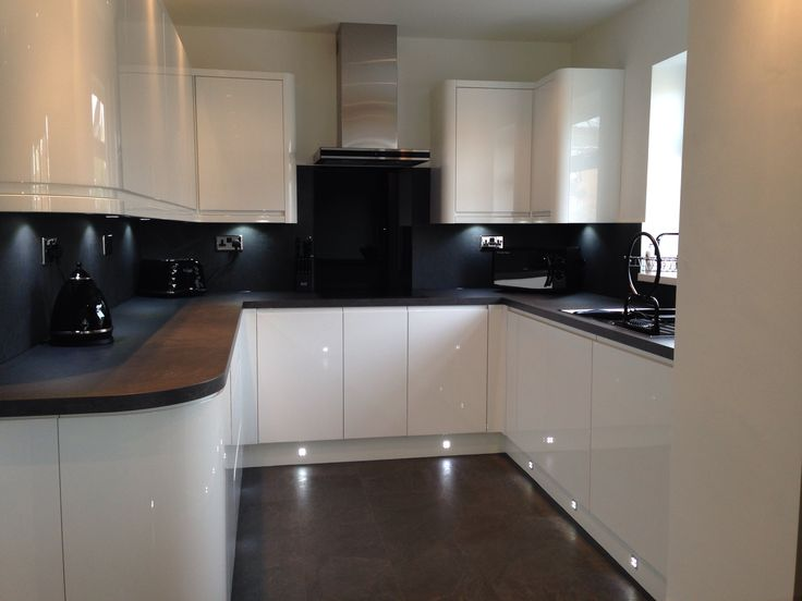 Our New Kitchen. Handless White Gloss. Grey Slate Bench And Flooring.  Lighting. Part 92