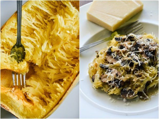 Špagetová dýně s parmazánem a česnekovými houbami
