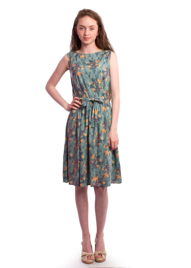 Floral #1950s Brigitte dress from Circus #fitandflare #retro #vintage #style #dress #floral #green #circus #carousel