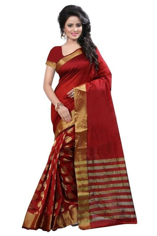 374d3a4194 Buy Red Color Casual Wear Cotton Silk Saree By ETHNIC MALL Online at Low  prices in India on Winsant, India fastest online shopping website. Shop  Online for ...