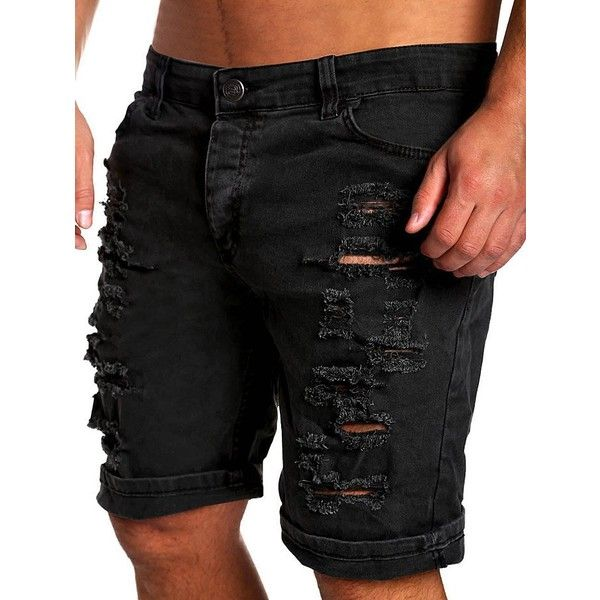 Zipper Fly Straight Leg Distressed Shorts (30 BAM) ❤ liked on Polyvore featuring men's fashion, men's clothing, men's shorts, mens distressed shorts, mens ripped shorts and mens zipper pocket shorts