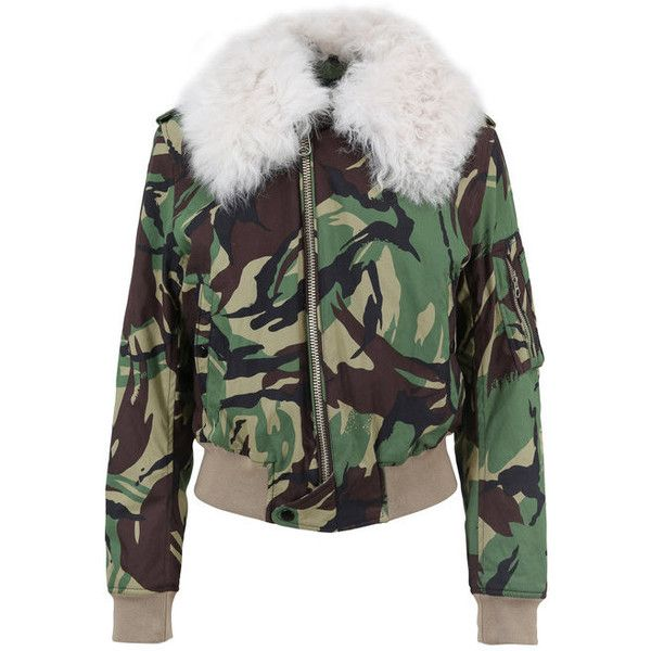 Rag Bone Camouflage Flight Jacket With Shearling Trim ($795) ❤ liked on Polyvore featuring outerwear, jackets, camoflage jacket, camouflage bomber jacket, camo print jacket, bomber style jacket and camo print bomber jacket