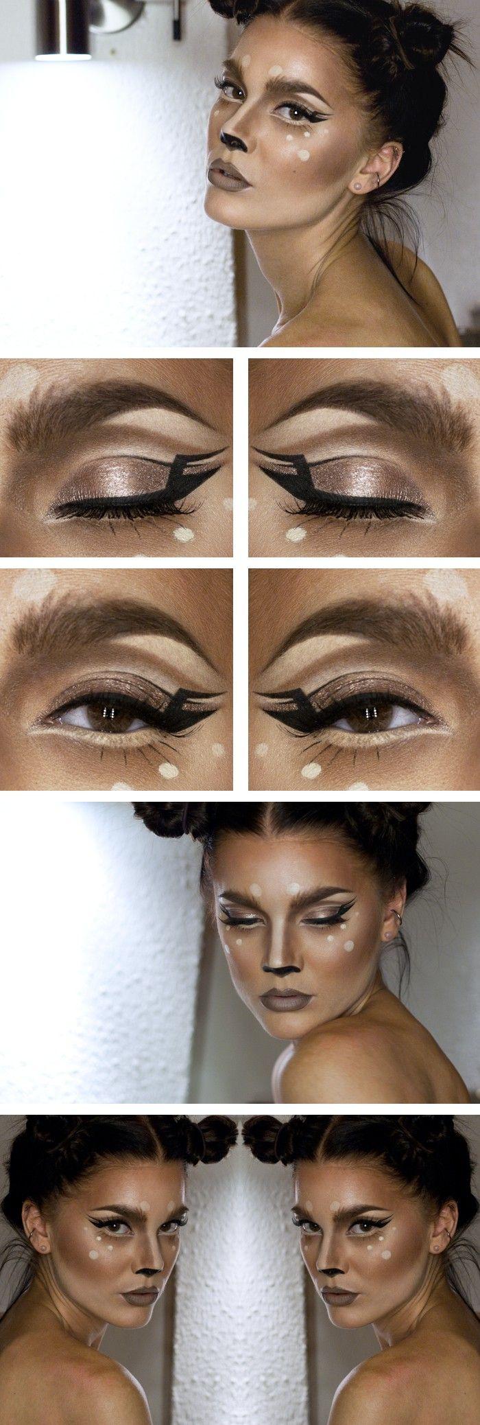Karneval Make-up Anleitung für ein Rehkostüm. Noch mehr Ideen gibt es auf www.Spaaz.de