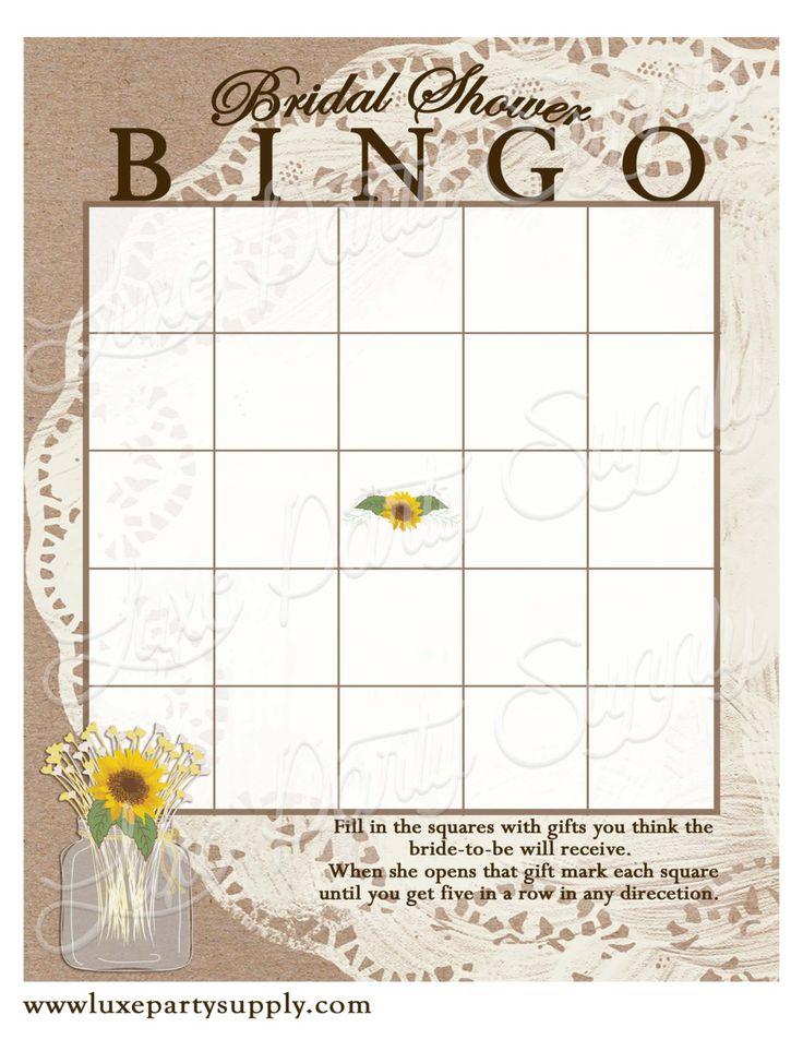 Lace & Sunflowers Bridal Shower Bingo, Bridal Shower Games, Burlap Doilie…