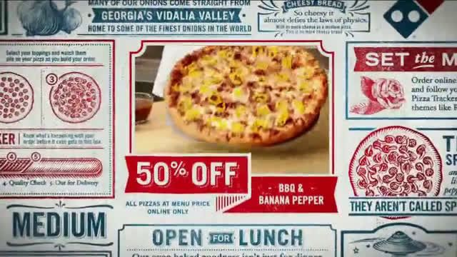 f26a4f6e93c Domino´s Pizza Pizza Combinations  50 Percent Off Ad Commercial on TV 2018