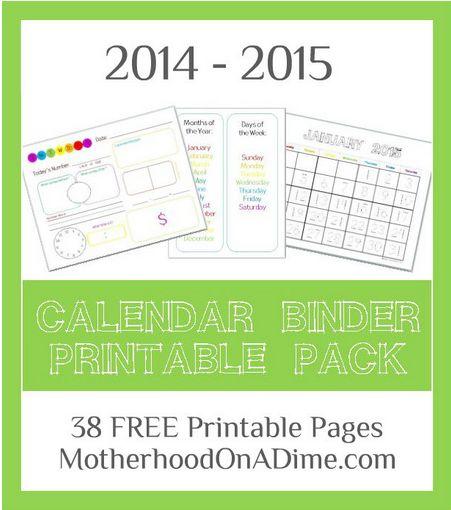 Kindergarten Calendar Binder Pages : Best ideas about free calendars on pinterest print a