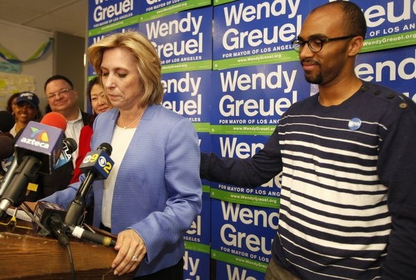 Hours after conceding the Los Angeles mayor's race to rival Eric Garcetti, an emotional Wendy Greuel said her efforts to break the glass ceiling will help other women seeking higher office.