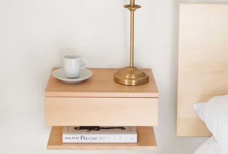 Floating bedside table. Solid natural beech, matt finish. One shelf and one drawer for plenty of storage in smaller bedrooms where space is limited. Also w