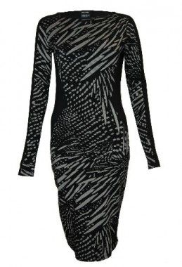 Isabel de pedro black printed dress monochrome womens fashion