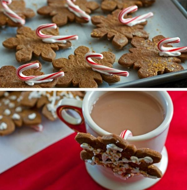 Stick a candy cane on the back of your gingerbread cookie and hang it on a cup of hot cocoa