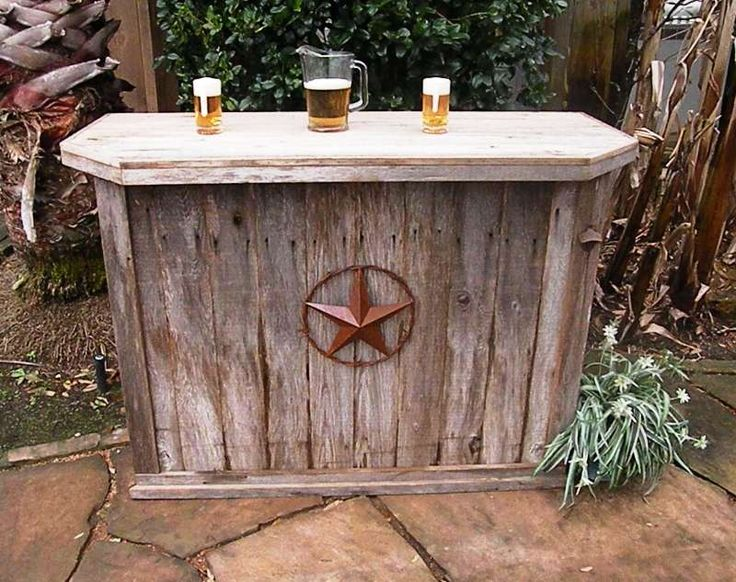 Hand-Made, Weathered Wood Outdoor Bar and You Can Choose the Decorations