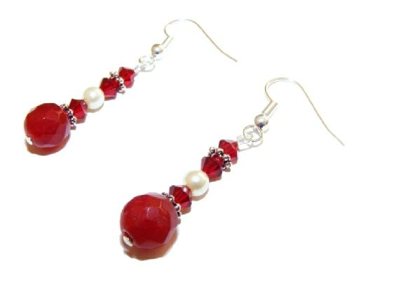 Ruby and Swarovski Pearl and Crystal Earrings £6.99