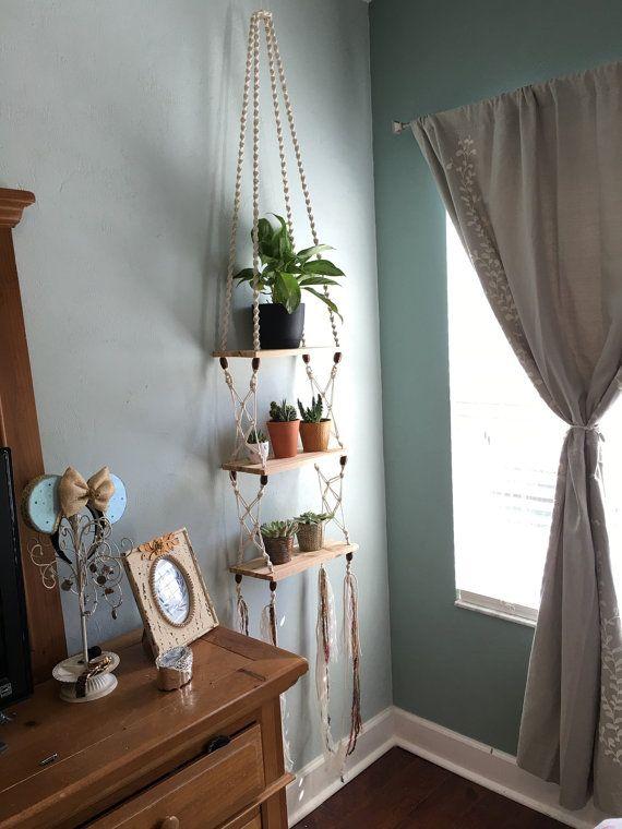 Handmade bohemian Macrame and Cedar Hanging Shelf