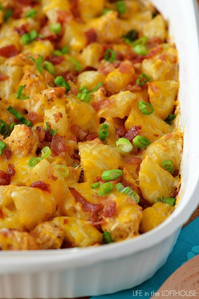 Seasoned chicken, potatoes, cheese and bacon! This is the best casserole ever!
