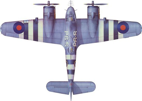 1939-46 Bristol 'Type 156' Beaufighter. RAF, RCAF, RAAF - Heavy fighter / strike aircraft. Engine: 2 x Hercules, 14 cyl, radial engine (1600 hp / 1200kW). Armament: 4 x 20 mm Hispano Mk II cannon in nose, 1 x .303 Browning for observer. External Loads: 2 x 250 lb bombs or 1 x British 18 in torpedo or 1 x Mark 13 torpedo or 8 x RP-3 '60 lb' (27 kg) rockets (underwing). Max Speed: 320 mph (280 kn, 515 km/h @ 10000 ft / 3050 m)