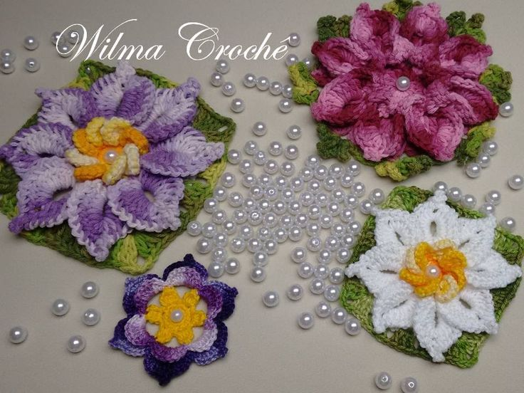 Como Aplicar Pérola em Flor de Crochê. / How to Apply Pearl Crochet Flower.