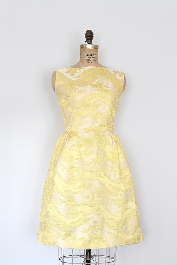 vintage 1960s dress // 60s yellow tulip prom dress // by TrunkofDresses