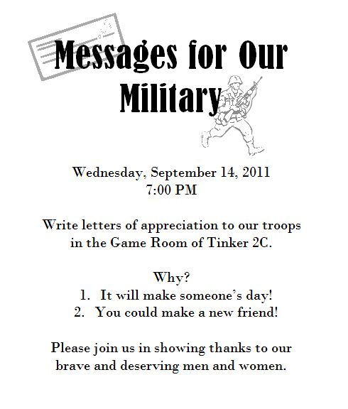 """""""Messages for Our Military"""" program"""