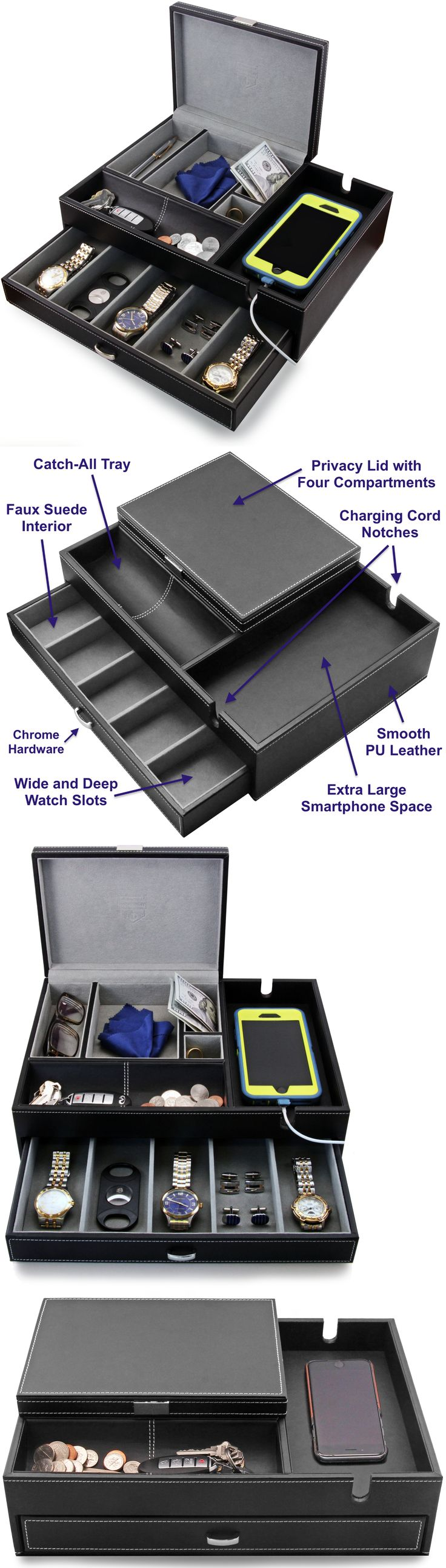 Multi-Purpose 168165: Houndsbay Big Dresser Valet Box And Mens Jewelry Organizer With Deep Drawer Slots -> BUY IT NOW ONLY: $64.99 on eBay!