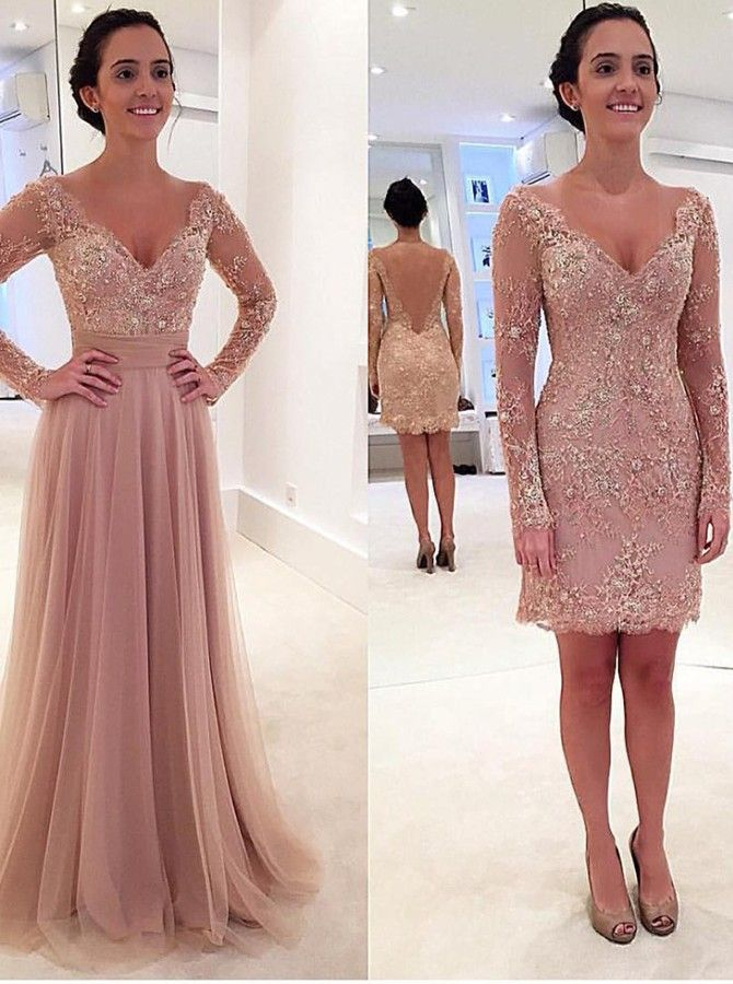 Short: Buy Princess Long Sleeves V-neck Tulle Prom Dress with Detachable Train   for only  US$ 324.00  at SimpleDress, SimpleDress.