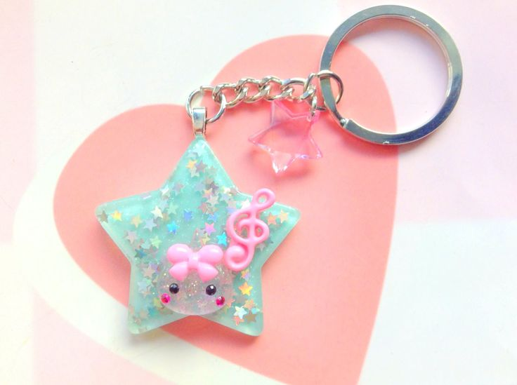 Cute Keychain, Music Star Pink Hoppe Chan, Blue Star Kawaii Keychain, Anime Gift, Unique Key Chain, Japan, Harajuku, Fairy Kei, Pastel Goth by CreaBia on Etsy