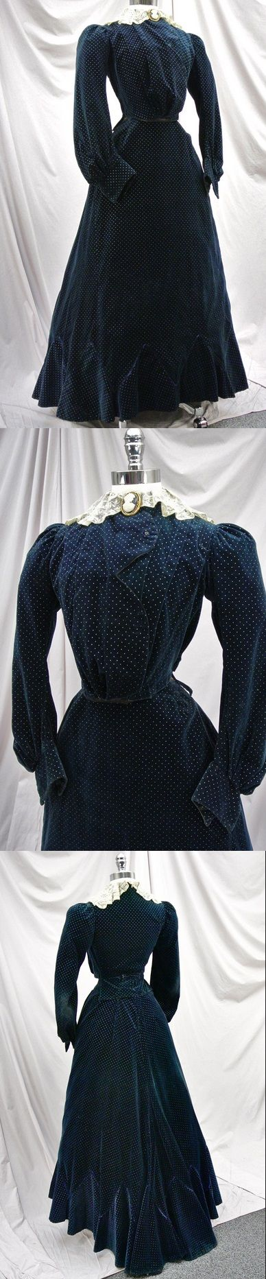 """Edwardian Winter Dress of Navy Blue Velvet with Silver Polka Dots, circa 1903-1905 via eBay 