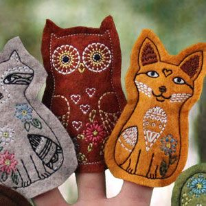 Woodland Felt Finger Puppets (digital embroidery)
