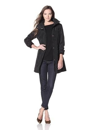 Ellen Tracy Women's Zip Front Topper with Stowed Hood (Black)