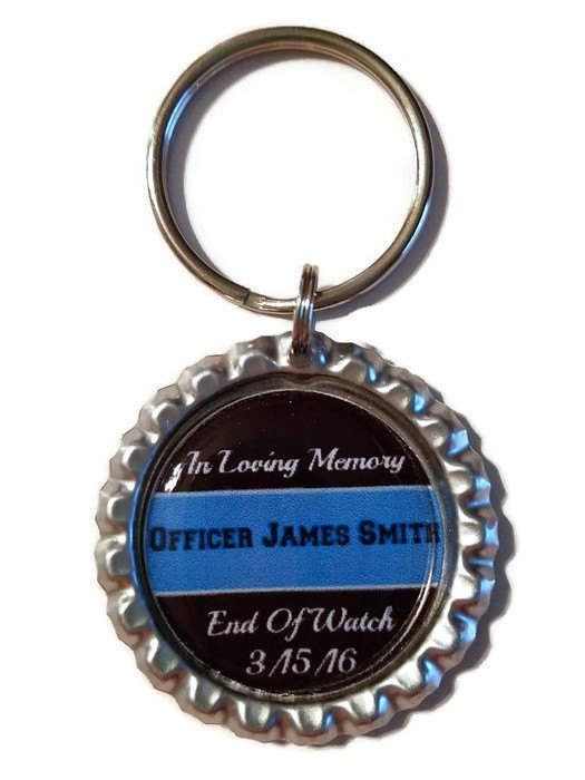 End Of Watch Personalized Police Memorial Key Chain, Thin Blue Line, Memorial GIft, Sympathy Gift, Police Officer Memorial, Hero In Heaven
