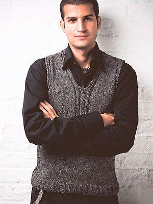 2e916ec45e9c Knit a men s sleeveless V-neck sweater  free knitting pattern ...