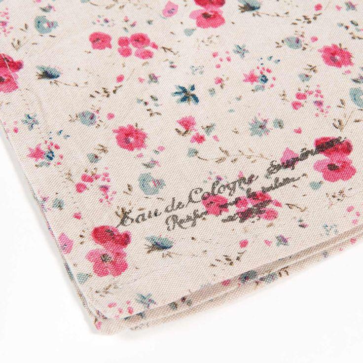 Serviette motif fleuri en coton 40 x 40 cm grasse for Maison du monde grasse