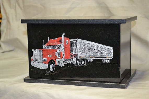 Texting While Driving >> Big Rig Cremation Urn-Black Granite | Cremation urns and Rigs