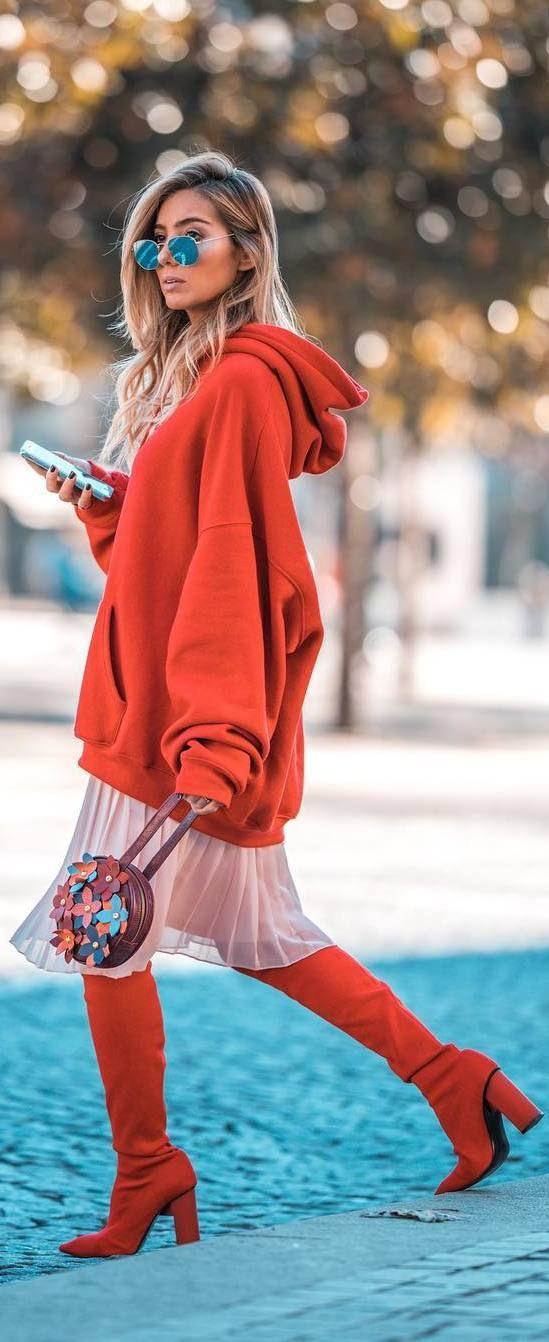 #fall #outfits orange loose blouse pastel skirt orange boots