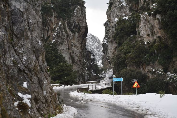 Snow in Kotsifos gorge January 2015.