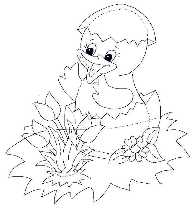 СХЕМА, Трафарет - Цыпленок - Аппликация, открытка своими руками к ПАСХЕ