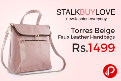 StalkBuyLove is offering Torres Beige Faux Leather Handbags just Rs.1499. Women's fashion bag made with faux leather, Metal alloy fittings, Pocket for cell phone inside, Pocket with zip inside, Shoulder strap, Single grab handle, Size: 41 X 30 X 9 cm. Length: 16.5″, 42 cm.  http://www.paisebachaoindia.com/torres-beige-faux-leather-handbags/