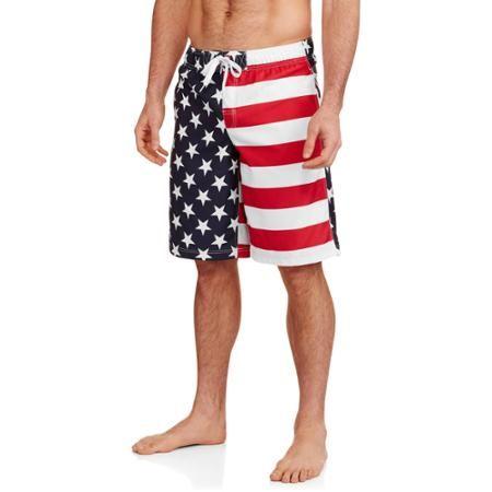 Faded Glory Big Men's All-Over Flag Printed Swim Trunks