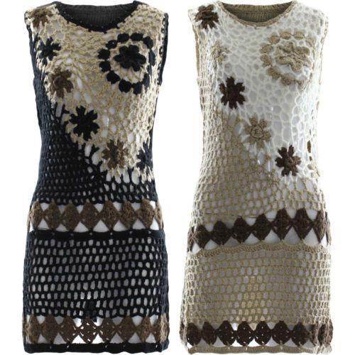Womens Crochet Mini Dress Ladies Knitted Flowers Sleeveless Jumper Warm Top 8-14: