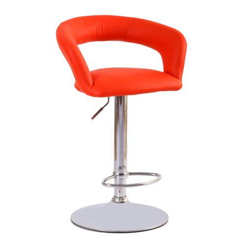 Deri döşemeli hidrolik sistem kromajlı ayaklı kollu bar sandalyesi Siyah ve kırmızı döşeme seçenekleri mevcuttur. deri döşemeli bar sandalyesi kozza home...