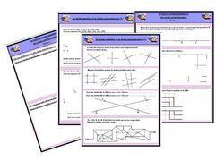 Voici une série de 4 fiches sur les droites parallèles et les droites perpendiculaires  - distinguer les droites parallèles et les droites perpendiculaires - tracer des droites et des segments donnés