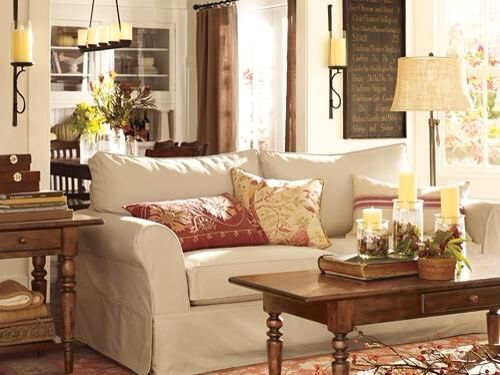 Pottery barn living room home is where your heart says for American living style furniture company